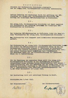 Historischer Mietvertrag des Ev. – luth. Kindergartens St. Andreas Groß Lobke vom 1. Juni 1945